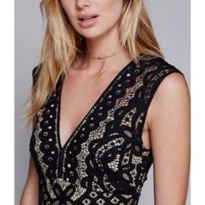 Free People One Million Lovers Lace Mini Dress